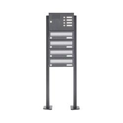 Basic | 4er Standbriefkasten Design BASIC 385P ST-T mit Klingelkasten - Edelstahl-RAL 7016 anthrazit | Mailboxes | Briefkasten Manufaktur