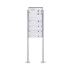 Basic | 4er Standbriefkasten Design BASIC 385P-9016 ST-T mit Klingelkasten - RAL 9016 verkehrsweiß | Mailboxes | Briefkasten Manufaktur