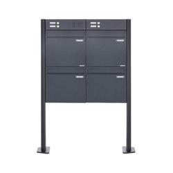 Basic | 4er Zaunbriefkasten freistehend BASIC 380Z-P mit Klingelkasten- RAL 7016 anthrazitgrau | Mailboxes | Briefkasten Manufaktur