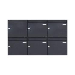 Basic   5er 2x3 Aufputz Briefkasten Design BASIC 382A AP - RAL 7016 anthrazitgrau Links oben 100mm Tiefe   Mailboxes   Briefkasten Manufaktur