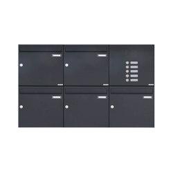 Basic | 5er 2x3 Aufputz Briefkasten Design BASIC 382A AP mit Klingelkasten - RAL 7016 anthrazitgrau Rechts 100mm Tiefe | Mailboxes | Briefkasten Manufaktur