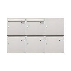 Basic | 5er 2x3 Edelstahl Aufputz Briefkastenanlage Design BASIC 382A-AP 100mm Tiefe | Mailboxes | Briefkasten Manufaktur