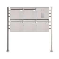 Basic | 5er 2x3 Edelstahl Standbriefkasten Design BASIC 381 ST-R mit Klingelkasten Rechts 100mm Tiefe | Mailboxes | Briefkasten Manufaktur