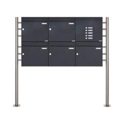 Basic | 5er 2x3 Standbriefkasten Design BASIC 381 ST-R mit Klingelkasten - RAL 7016 anthrazitgrau Rechts 100mm Tiefe | Mailboxes | Briefkasten Manufaktur