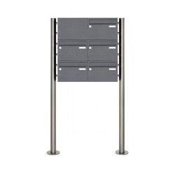 Basic   5er 3x2 Edelstahl Standbriefkasten Design BASIC Plus 385 220 X ST R - RAL nach Wahl Links oben   Mailboxes   Briefkasten Manufaktur