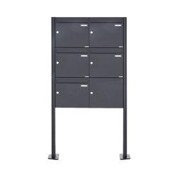 Basic | 5er 3x2 Standbriefkasten Design BASIC 380 ST-T - RAL 7016 anthrazitgrau 100mm Tiefe | Mailboxes | Briefkasten Manufaktur