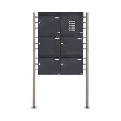 Basic | 5er 3x2 Standbriefkasten Design BASIC 381 ST-R mit Klingelkasten - RAL 7016 anthrazitgrau Rechts 100mm Tiefe | Mailboxes | Briefkasten Manufaktur