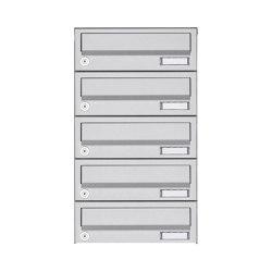 Basic | 5er Aufputz Briefkastenanlage Design BASIC 385A AP - Edelstahl V2A, geschliffen | Mailboxes | Briefkasten Manufaktur