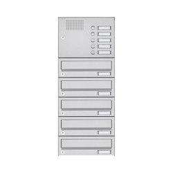 Basic | 5er Aufputz Briefkastenanlage Design BASIC 385A AP mit Klingelkasten - Edelstahl V2A, geschliffen | Mailboxes | Briefkasten Manufaktur