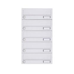 Basic | 5er Aufputz Briefkastenanlage Design BASIC 385A-9016 AP - RAL 9016 verkehrsweiß | Mailboxes | Briefkasten Manufaktur