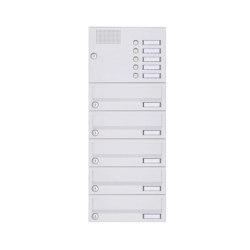 Basic | 5er Aufputz Briefkastenanlage Design BASIC 385A-9016 AP mit Klingelkasten - RAL 9016 verkehrsweiß | Mailboxes | Briefkasten Manufaktur