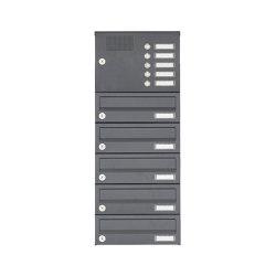 Basic | 5er Aufputz Briefkastenanlage Design BASIC Plus 385XA AP mit Klingelkasten - RAL nach Wahl | Mailboxes | Briefkasten Manufaktur