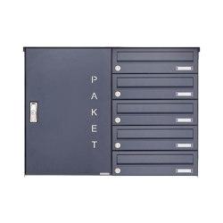 Basic | 5er Aufputz Paketbriefkasten BASIC 863 AP mit Paketfach 550x370 in RAL 7016 anthrazitgrau Rechts | Mailboxes | Briefkasten Manufaktur