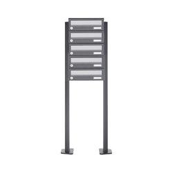 Basic | 5er Briefkastenanlage freistehend Design BASIC 385P ST-T - Edelstahl-RAL 7016 anthrazitgrau | Mailboxes | Briefkasten Manufaktur