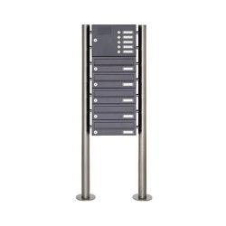 Basic | 5er Edelstahl Standbriefkasten Design BASIC Plus 385 X ST-R mit Klingelkasten - RAL nach Wahl | Mailboxes | Briefkasten Manufaktur