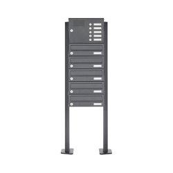 Basic | 5er Edelstahl Standbriefkasten Design BASIC Plus 385 XP SP mit Klingelkasten - RAL nach Wahl | Mailboxes | Briefkasten Manufaktur