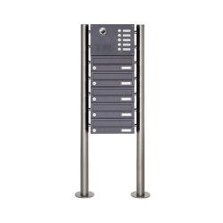 Basic   5er Edelstahl Standbriefkasten Design BASIC Plus 385KX ST-R mit Klingel & Sprech- Kameravorbereitung   Mailboxes   Briefkasten Manufaktur