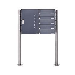 Basic   5er Paketbriefkasten freistehend BASIC 863 ST-R mit Paketfach 550x370 in RAL 7016 anthrazitgrau Rechts   Mailboxes   Briefkasten Manufaktur