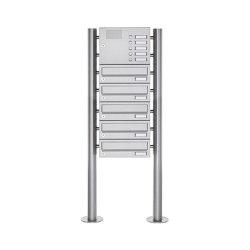 Basic | 5er Standbriefkasten Design BASIC 385 ST-R mit Klingelkasten - Edelstahl V2A, geschliffen | Mailboxes | Briefkasten Manufaktur