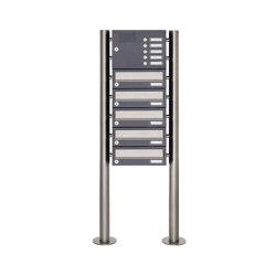 Basic | 5er Standbriefkasten Design BASIC 385-7016 ST-R mit Klingelkasten - Edelstahl-RAL 7016 anthrazitgrau | Mailboxes | Briefkasten Manufaktur