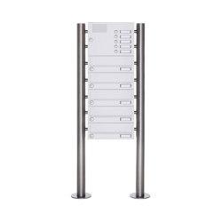 Basic | 5er Standbriefkasten Design BASIC 385-9016 ST-R mit Klingelkasten - RAL 9016 verkehrsweiß | Mailboxes | Briefkasten Manufaktur