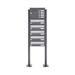 Basic | 5er Standbriefkasten Design BASIC 385P ST-T mit Klingelkasten - Edelstahl-RAL 7016 anthrazit | Mailboxes | Briefkasten Manufaktur