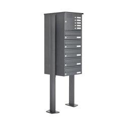 Basic | 5er Standbriefkasten Design BASIC 385P ST-T mit Klingelkasten - RAL 7016 anthrazitgrau | Mailboxes | Briefkasten Manufaktur