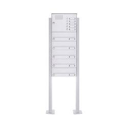 Basic | 5er Standbriefkasten Design BASIC 385P-9016 ST-T mit Klingelkasten - RAL 9016 verkehrsweiß | Mailboxes | Briefkasten Manufaktur