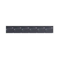 Basic   6er 1x6 Aufputz Briefkasten Design BASIC 382A AP - RAL 7016 anthrazitgrau 100mm Tiefe   Mailboxes   Briefkasten Manufaktur