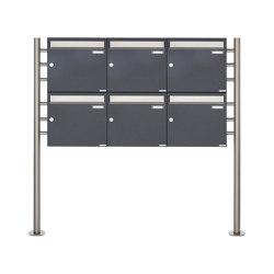 Basic | 6er 2x3 Briefkastenanlage freistehend Design BASIC 381 ST-R - Edelstahl-RAL 7016 anthrazitgrau 100mm Tiefe | Mailboxes | Briefkasten Manufaktur