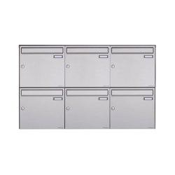 Basic | 6er 2x3 Edelstahl Aufputz Briefkasten Design BASIC Plus 382XA AP - Edelstahl V2A geschliffen 100mm Tiefe | Mailboxes | Briefkasten Manufaktur