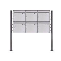 Basic | 6er 2x3 Edelstahl Standbriefkasten Design BASIC Plus 381X ST R - Edelstahl V2A geschliffen 100mm Tiefe | Mailboxes | Briefkasten Manufaktur