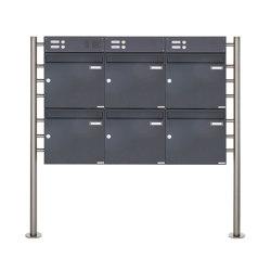 Basic | 6er 2x3 Standbriefkasten Design BASIC 381 ST-R mit Klingelkasten - RAL 7016 anthrazitgrau Oben 100mm Tiefe | Mailboxes | Briefkasten Manufaktur