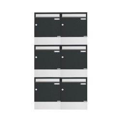 Basic   6er 3x2 Aufputz Briefkasten BASIC 382A AP mit Zeitungsfach - Edelstahl-RAL 7016 anthrazitgrau   Mailboxes   Briefkasten Manufaktur