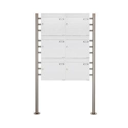 Basic | 6er 3x2 Briefkastenanlage freistehend Design BASIC 381 ST-R - RAL 9016 verkehrsweiß 100mm Tiefe | Buchette lettere | Briefkasten Manufaktur