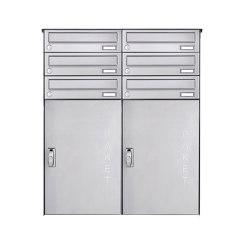 Basic | 6er 3x2 Edelstahl Aufputz Paketbriefkasten BASIC 863 AP mit Paketfach 550x370 | Mailboxes | Briefkasten Manufaktur