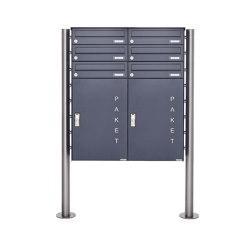 Basic   6er 3x2 Paketbriefkasten freistehend BASIC 863 ST-R mit Paketfach 550x370 in RAL 7016 anthrazitgrau   Buchette lettere   Briefkasten Manufaktur