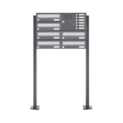 Basic | 6er 3x2 Standbriefkasten Design BASIC 385P ST-T mit Klingelkasten - Edelstahl-RAL 7016 anthrazit Rechts | Mailboxes | Briefkasten Manufaktur
