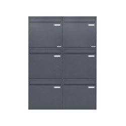 Basic   6er 3x2 Zaunbriefkasten Design BASIC 382Z - RAL 7016 anthrazitgrau - Entnahme rückseitig   Mailboxes   Briefkasten Manufaktur