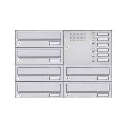 Basic   6er 4x2 Aufputz Briefkastenanlage Design BASIC 385A AP mit Klingelkasten - Edelstahl V2A Rechts   Mailboxes   Briefkasten Manufaktur