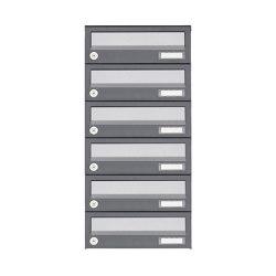 Basic   6er Aufputz Briefkastenanlage Design BASIC 385A AP - Edelstahl-RAL 7016 anthrazit   Mailboxes   Briefkasten Manufaktur