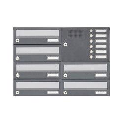 Basic | 6er Aufputz Briefkastenanlage Design BASIC 385A AP mit Klingelkasten - Edelstahl RAL 7016 anthrazit Rechts | Mailboxes | Briefkasten Manufaktur