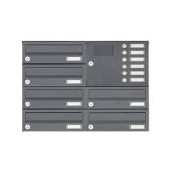 Basic | 6er Aufputz Briefkastenanlage Design BASIC 385A AP mit Klingelkasten - RAL 7016 anthrazitgrau Rechts | Mailboxes | Briefkasten Manufaktur