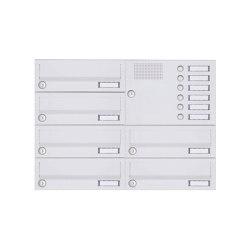 Basic | 6er Aufputz Briefkastenanlage Design BASIC 385A-9016 AP mit Klingelkasten - RAL 9016 verkehrsweiß Rechts | Mailboxes | Briefkasten Manufaktur