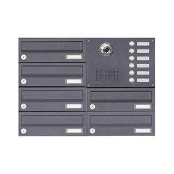 Basic | 6er Aufputzbriefkasten BASIC Plus 385 KXA SP mit Klingelkasten - Kameravorbereitung Rechts | Mailboxes | Briefkasten Manufaktur