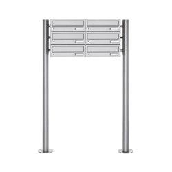 Basic | 6er Briefkastenanlage freistehend Design BASIC 385 ST-R - Waagerecht - Edelstahl V2A, geschliffen | Mailboxes | Briefkasten Manufaktur