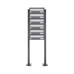 Basic | 6er Briefkastenanlage freistehend Design BASIC 385P ST-T - Edelstahl-RAL 7016 anthrazitgrau | Mailboxes | Briefkasten Manufaktur