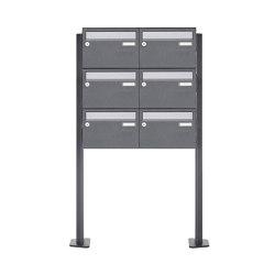 Basic   6er Briefkastenanlage freistehend Design BASIC Plus 385XP ST-T - Edelstahl-RAL nach Wahl   Mailboxes   Briefkasten Manufaktur