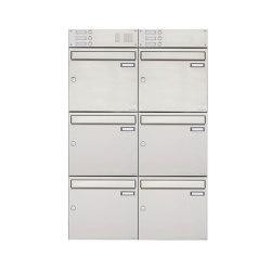 Basic | 6er Edelstahl Aufputz Briefkasten Design BASIC 382A AP mit Klingelkasten Oben 100mm Tiefe | Mailboxes | Briefkasten Manufaktur