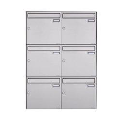 Basic | 6er Edelstahl Aufputz Briefkasten Design BASIC Plus 382XA AP - Edelstahl V2A geschliffen 100mm Tiefe | Mailboxes | Briefkasten Manufaktur